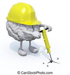 casque, jambes, jackhamme, cerveau, travail, bras
