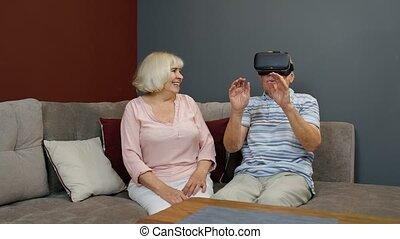 casque, jeu, grand-mère, montre, 360, grand-père, réalité ...