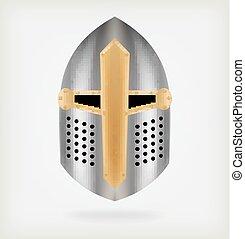 casque, knight., moyen-âge, fer