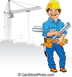 casque, main, jaune, gai, construction, contre, fond, dessin, ingénieur