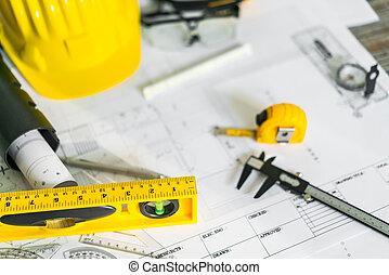 casque, modèles, plans, construction, outils, dessin