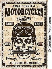 casque, motocyclettes, crâne, affiche