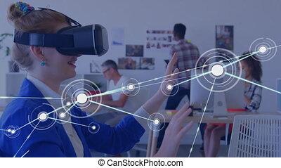 casque, numérique, vr, femme, en mouvement, connecteurs, données, utilisation