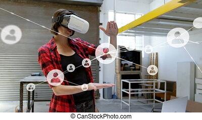 casque, numérique, vr, femme, en mouvement, connecteurs,...