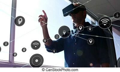 casque, numérique, vr, homme, en mouvement, connecteurs,...