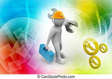 casque, ouvrier, construction, sécurité, clé, 3d