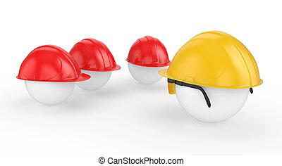 casque, ouvriers, travail, chef, faces, réunion, avant