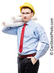 casque, papier, poser, fond, homme affaires, blanc