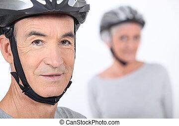 casque, personne agee, vélo, homme