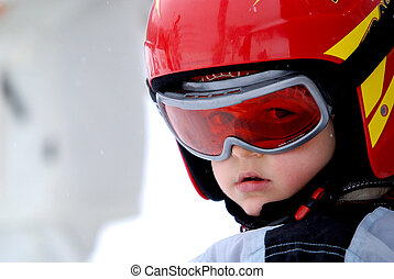 casque, peu, lunettes protectrices, skieur