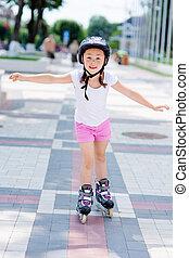 casque, peu, parc, patins, girl, rouleau
