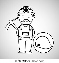 casque, pic, ouvrier, mine