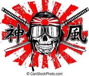 casque, pilotes, épées, crâne