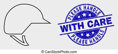 casque, poignée, détresse, timbre, s'il vous plaît, vecteur, motocyclette, icône, contour, soin