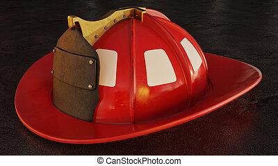 casque, pompier, asphalte, vide
