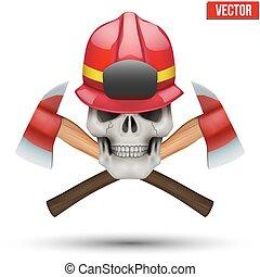 casque, pompier, crâne humain