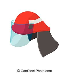 casque, pompier, dessin animé, icône
