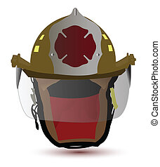 casque, pompier, illustration, conception