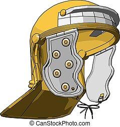 casque, pompier, jaune, vecteur, illustration, fond, blanc