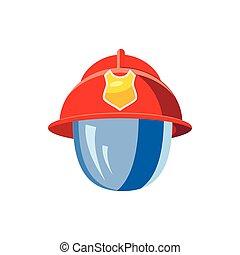 casque, pompier, masque, icône
