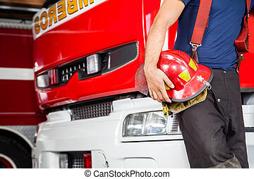 casque, pompier, quoique, camion, tenue, penchant, rouges