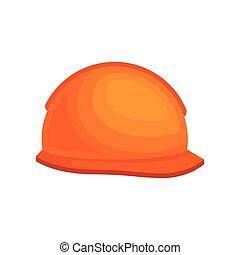 casque, protecteur, plat, couvre-chef, plastique, vecteur, conception, worker., orange, construction, builder.