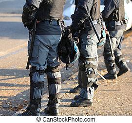 casque, protecteur, police, engrenage, émeute, urbain,...
