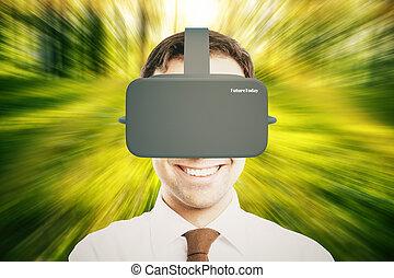 casque, résumé, vert, réalité virtuelle