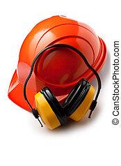 casque, sécurité, rouges, écouteurs