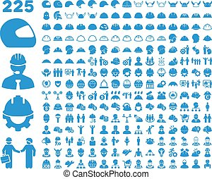 casque, sécurité, set., icône, travail