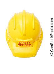 casque sûreté, pour, sécurité, officier