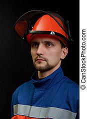 casque, salopette, ouvrier