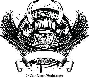 casque, samouraï, ailes, crâne, cornes