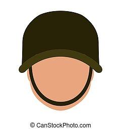 casque, sien, image, protecteur, militaire, icône