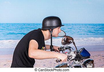 casque, sien, jeune, vélo, retro, expédier, homme