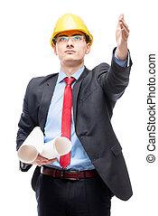 casque, sien, maison, projection, site, main, construction, architecte, fond, blanc