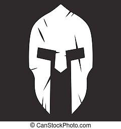 casque, spartan, choc, silhouette, grattements