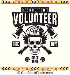 casque, style, emblème, crâne, pompier, vecteur, retro