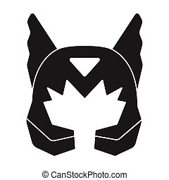 casque, style, illustration., symbole, masque, isolé,...