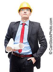 casque, tête, expérimenté, jaune, architecte, fond, portrait, poser, blanc