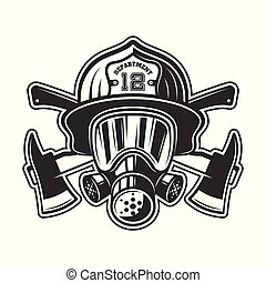 casque, tête, pompier, masque, essence, illustration