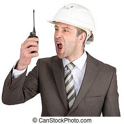 casque, talkie-walkie, crier, homme affaires
