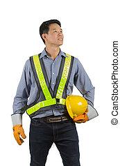 casque, tenue, jaune, ingénieur