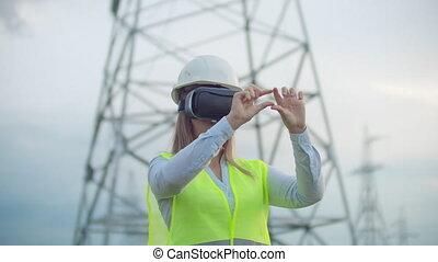 casque, towers., femme, puissance, énergie, réalité virtuelle, milieu, plan, fond, ligne, ingénieur, blanc, a haute tension, lunettes