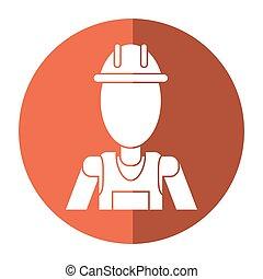 casque, travail, entrepreneur, professionnel, ombre, uniforme, homme