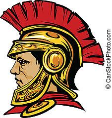 casque, trojan, spartan, mascotte