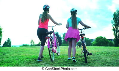 casque, vélo, sommet, promenade, vélo, colline, enfants