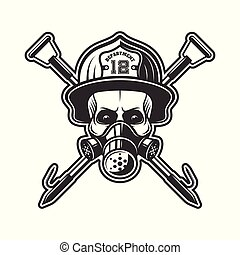casque, vecteur, pompier, crâne, respirateur