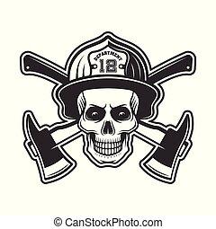 casque, vecteur, pompier, illustration, crâne