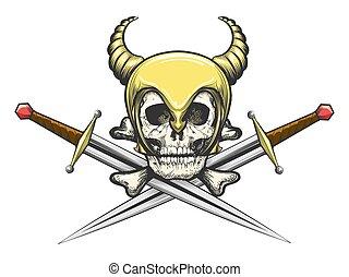 casque viking, épées, crâne